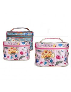 Beautycase floral decoration Pip Studio with zip and inner mirror