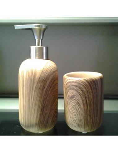 Coppia dispenser+bicchiere portapennelli/spazzolini in resina effetto legno