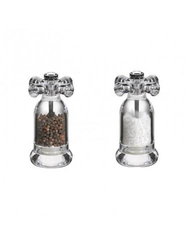 Macine per pepe e sale in acrilico a forma di rubinetto Kuchenprofi