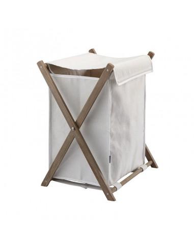 Portabiancheria pieghevole telaio in legno e sacco in stoffa