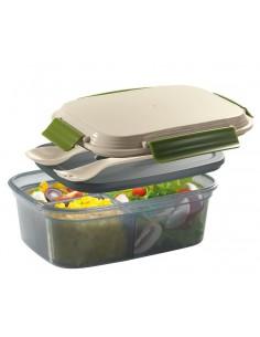 Lunch box con divisorio,2 inserti,panetto ghiaccio e posate