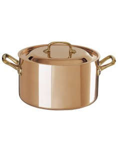 tinned copper casserole with lid cm.22