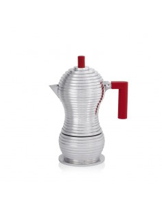 Pulcina by Alessi - espresso coffe maker - INDUCTION - red handle