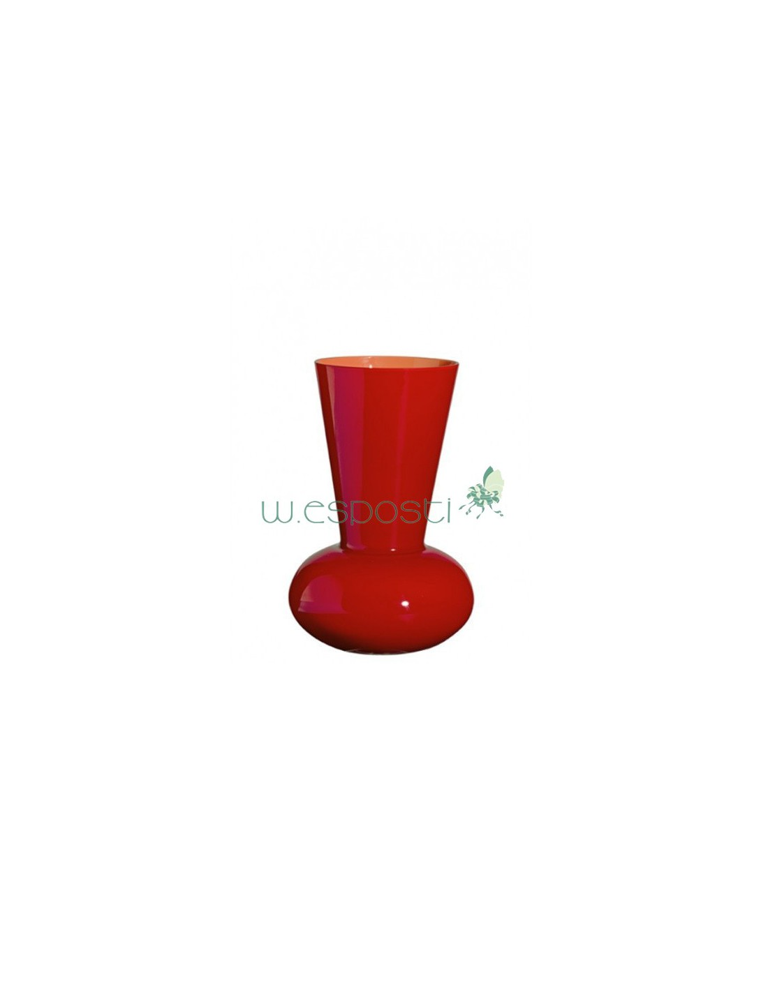Troncocono Mini Red And Lobster Pink Glass Vase By Carlo Moretti
