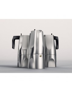 Espresso coffee maker in aluminium casting 3 cups Alessi by Mario Trimarchi